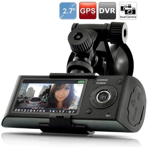 מצלמת HD לרכב עדשה כפולה משולבת GPS