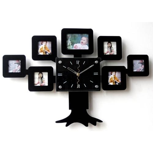 שעון קיר עץ משפחה בעל 7 מסגרות לתמונה