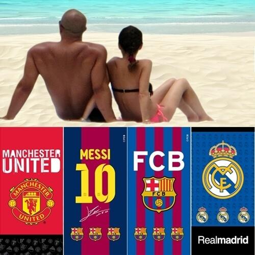 סט 4 מגבות חוף איכותי של מותגי הכדורגל המצליחים