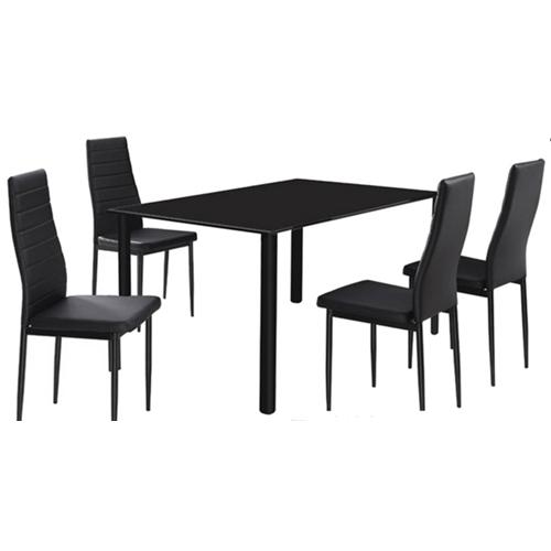 פינת אוכל המשלבת מתכת וזכוכית כולל 4 כיסאות