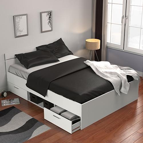 מיטה זוגית עם מגירות ותא אחסון תוצרת צרפת