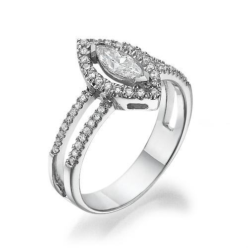 טבעת אירוסין מרקיזה זהב 14K משובצת יהלומים