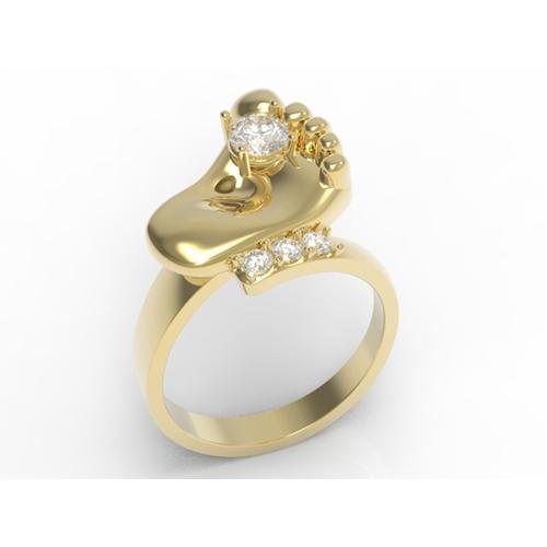 טבעת רגל זהב 14K משובץ זרקוניות