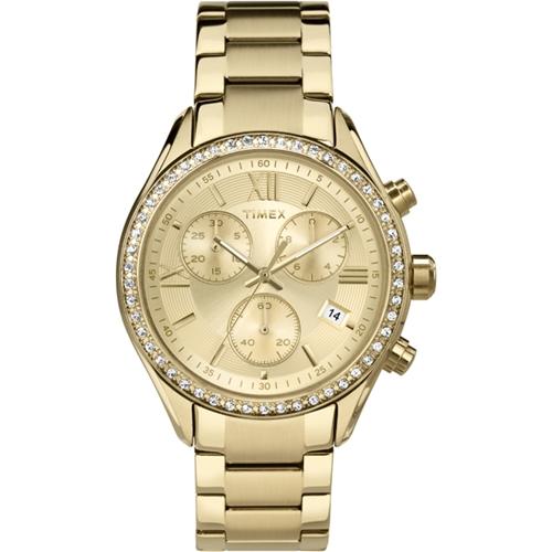 שעון יד אופנתי לאישה TIMEX עם אבני סברובסקי