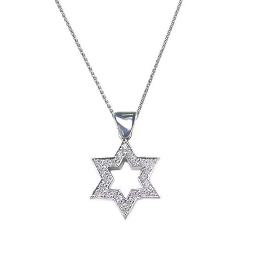 תליון מגן דוד זהב לבן 14K משובץ יהלומים