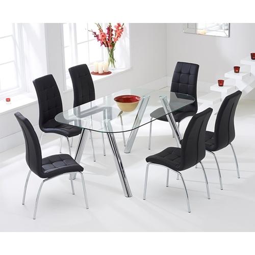 פינת אוכל מזכוכית כולל 6 כיסאות דגם DONNA