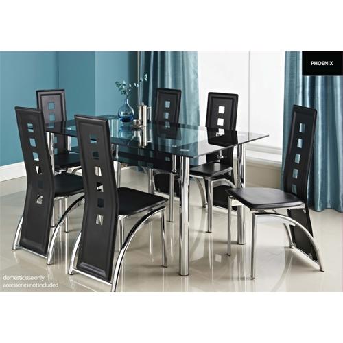 פינת אוכל מזכוכית כולל 6 כסאות דגם LORETO
