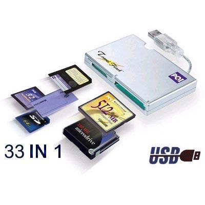 קורא כרטיסים  USB ל- 33 סוגי כרטיסי הזיכרון
