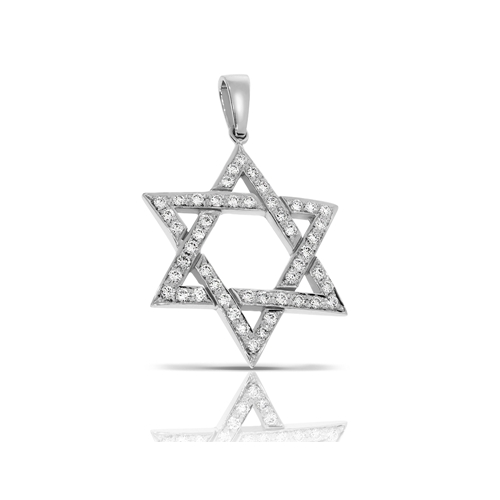 תליון מגן דוד זהב 14K, משובץ יהלומים