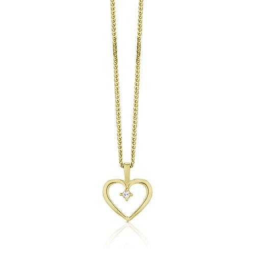 תליון לב זהב צהוב 14K משובץ עם יהלום