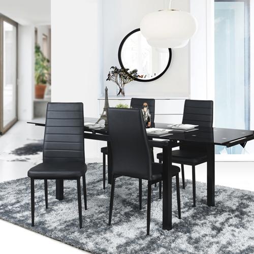 פינת אוכל משולבת זכוכית עם שולחן מתרחב עם 6 כיסאות
