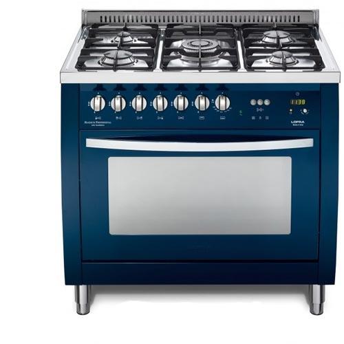 """תנור משולב כיריים גז רחב 90 ס""""מ צבע כחול"""