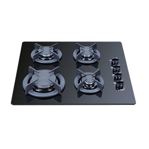 כיריים 4 להבות גז בגימור זכוכית צבע שחור או לבן