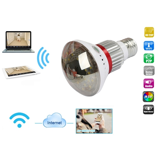 מצלמת IP אלחוטית נסתרת במנורת לד עם מיקרופון