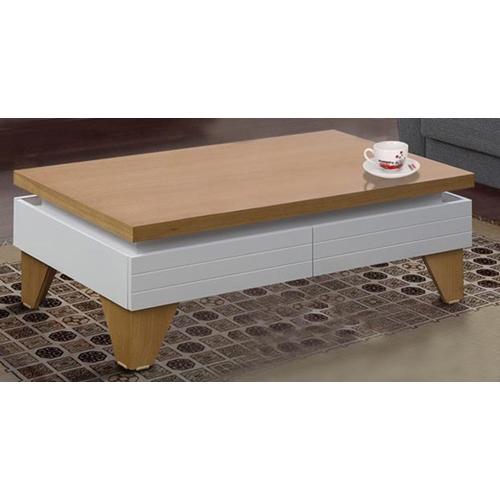 שולחן לסלון בצבע לבן בשילוב עץ מבית LEONARDO
