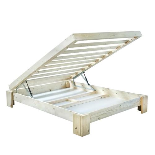 מיטה עשויה עץ אורן כולל ארגז מצעים ומזרן