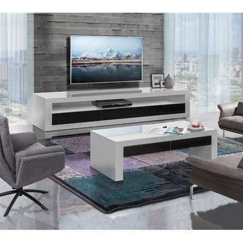 מערכת מזנון ושולחן לסלון בצבע לבן בגימור אפוקסי