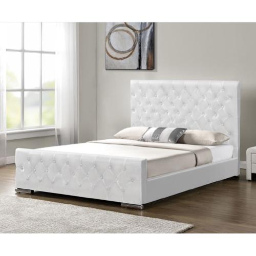 מיטה זוגית מעוצבת בריפוד דמוי עור לבן HOME DECOR