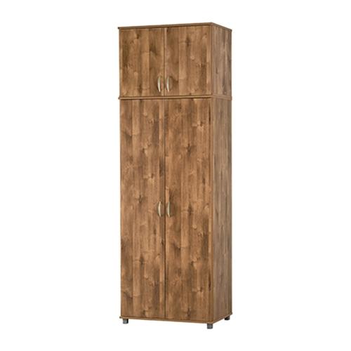 ארון 2 דלתות מרובה מדפים ותליה עם חלק עליון