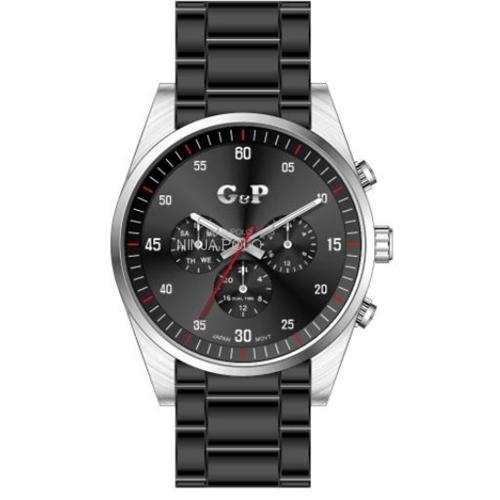 שעון יד יוקרתי לגבר מפלדת אל חלד בצבע שחור G&P