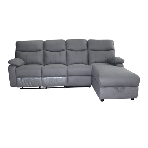 ספה פינתית אמורוסה עם 2 ריקליינרים (הדום נשלף) וארגז מצעים