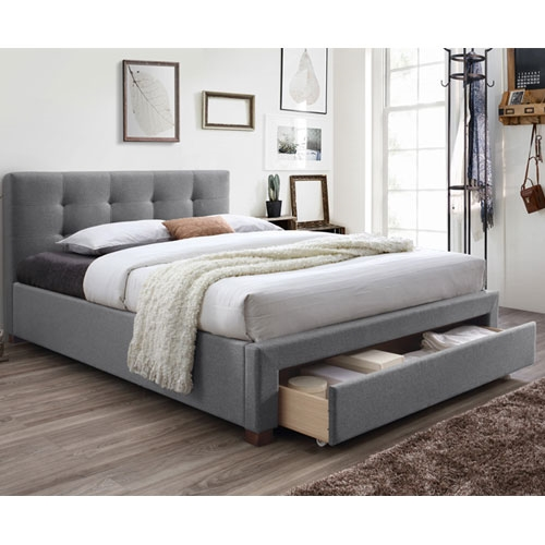 מיטה זוגית מרופדת עם מגירת אחסון HOME DECOR