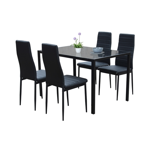 פינת אוכל מעוצבת מזכוכית עם 4 כסאות דמוי עור