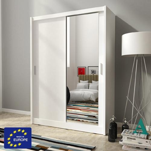 """ארון הזזה 130 ס""""מ עם דלת מראה תוצרת אירופה"""