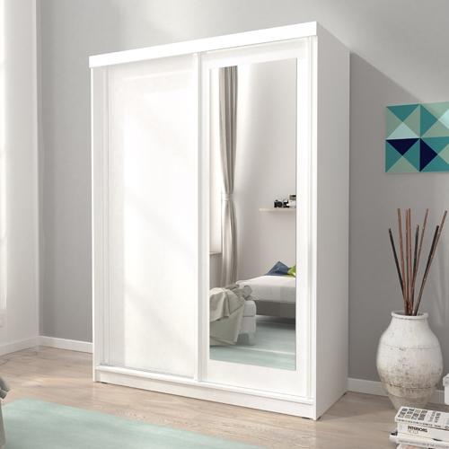 """ארון הזזה 150 ס""""מ עם דלת משולבת מראה דגם אלסקה"""