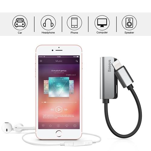 מתאם אוזניות לאייפון 7, 8 ו10 (X) כולל חיבור לטעינה בו זמנית