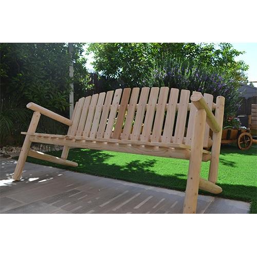 ספסל עץ לגינה במראה יחודי ומאסיבי דגם ליאל
