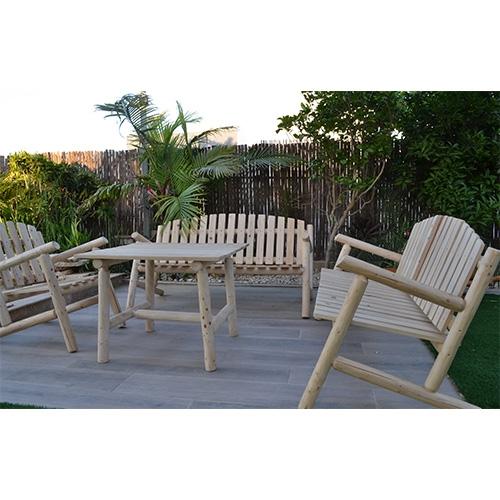 פינת ישיבה יחודית מעץ טבעי לגינה דגם עומר