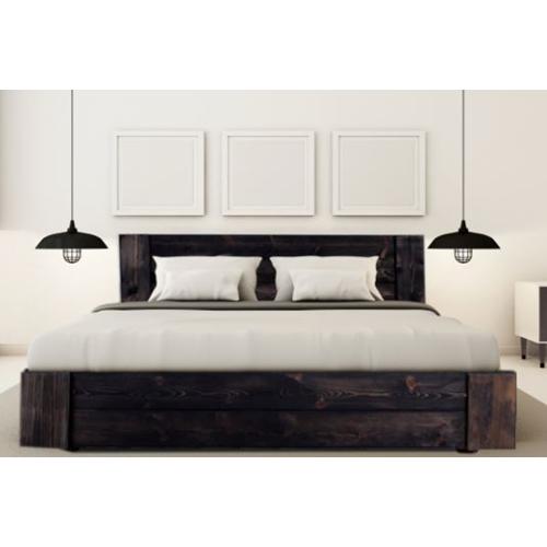 מיטה זוגית מסיבית מעץ מלא בעיצוב חדשני עם מזרון