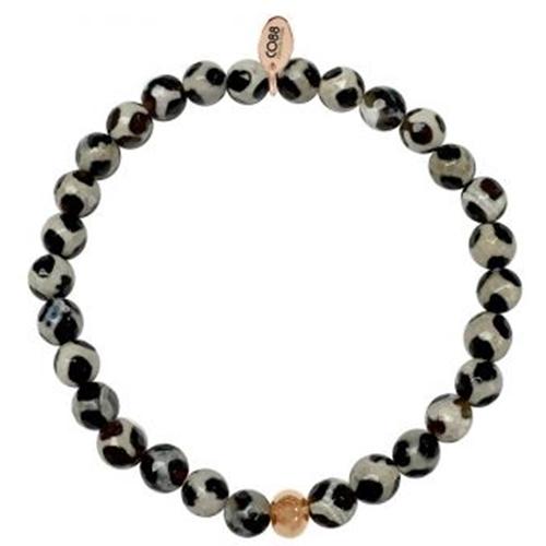 צמיד אבנים לאישה בצבע לבן עם נקודות שחורות CO88