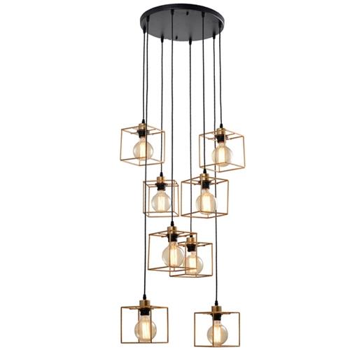 מנורת תליה דו גונית מעוצבת עם 8 גופי תאורה ביתילי