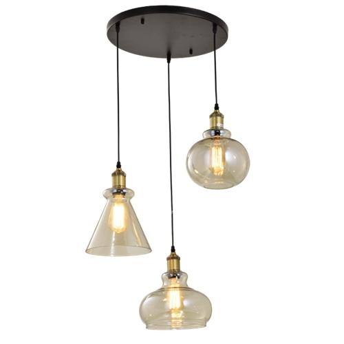 מנורת תליה עם 3 גופי תאורה שונים זכוכית ביתילי
