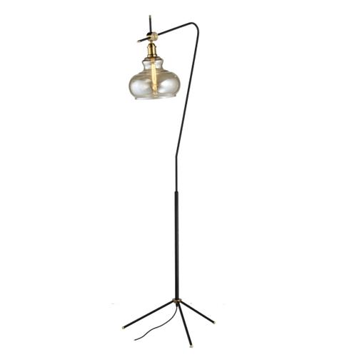 מנורת עמידה פעמון מעוצבת בזכוכית ומתכת ביתילי