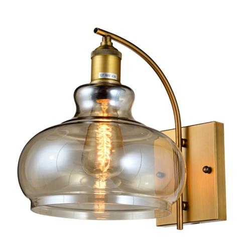 מנורת קיר פעמון מעוצבת בזכוכית ומתכת ביתילי