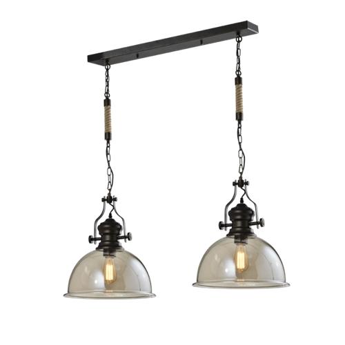 מנורת תליה עם 2 גופי תאורה וכבל שרשרת ביתילי