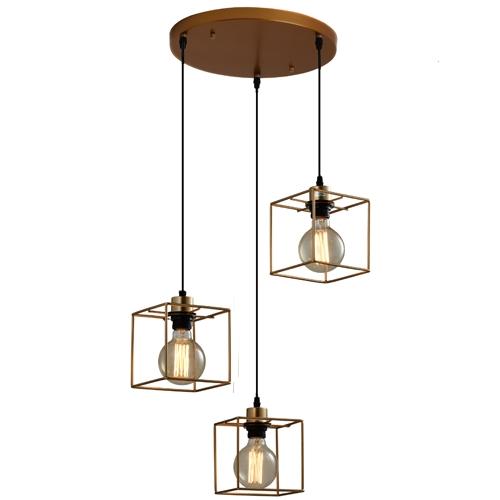 מנורת תליה מעוצבת דו גונית 3 גופי תאורה ביתילי