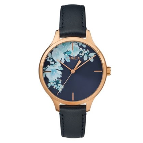שעון יד כחול בעיצוב פרחוני לאישה מבית TIMEX