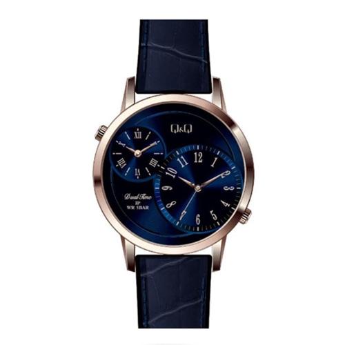 שעון יד אנלוגי בעל 2 אזורי זמן לגבר מבית Q&Q