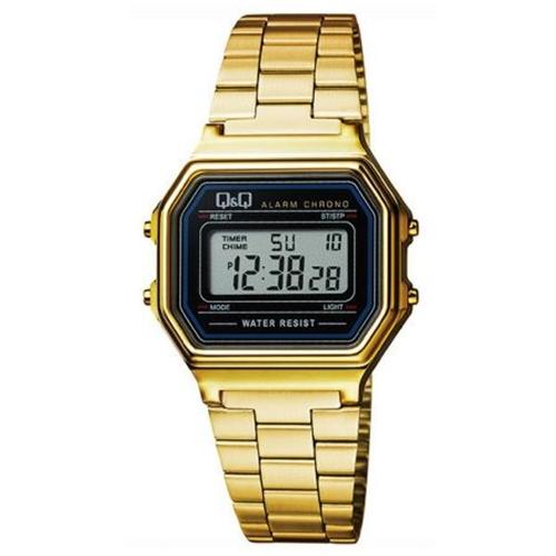 שעון יד דיגיטלי מלבני מוזהב לאישה מבית Q&Q