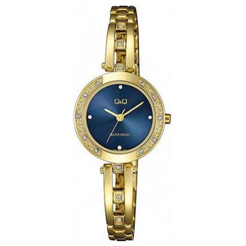 שעון יד אופנתי מוזהב מעוטר אבנים לאישה מבית Q&Q