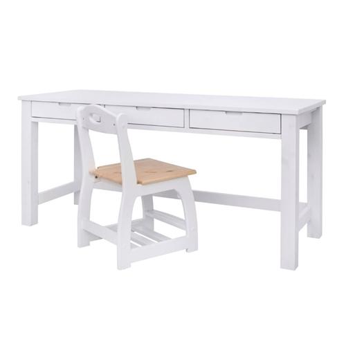 שולחן עומרי 3 מגירות בעיצוב חלק ונקי מעץ מלא