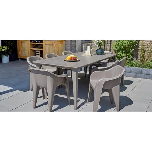 """שולחן """"לימה"""" נפתח- חדש מבית KETER בצבע אפור גרפיט"""
