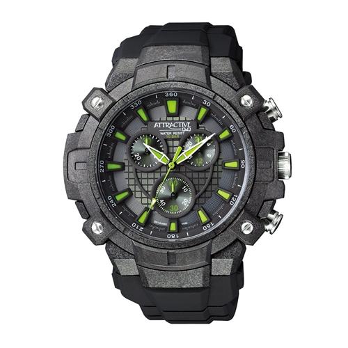 שעון יד כרונוגרף מסדרת ATTRACTIVE לגבר מבית Q&Q