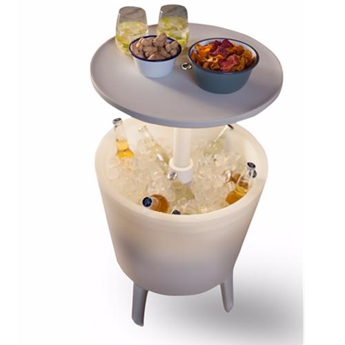 שולחן קוקטיילים טרנדי מואר משולב בצידנית גדולה כתר