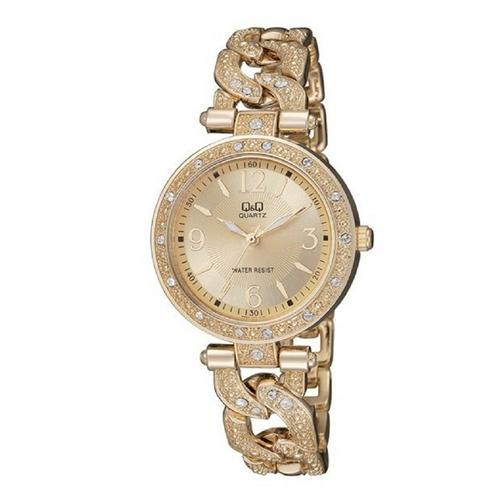 שעון יד מוזהב לאישה בעיצוב נוצץ עמיד מים מבית Q&Q