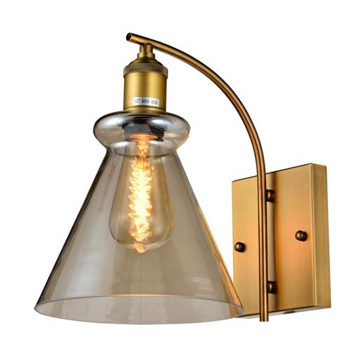 מנורת קיר מעוצבת עשויה זכוכית בגוון קוניאק ביתילי